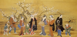 Utagawa Toyoharu  Enjoying the Plum Blossoms  around the Kansei period