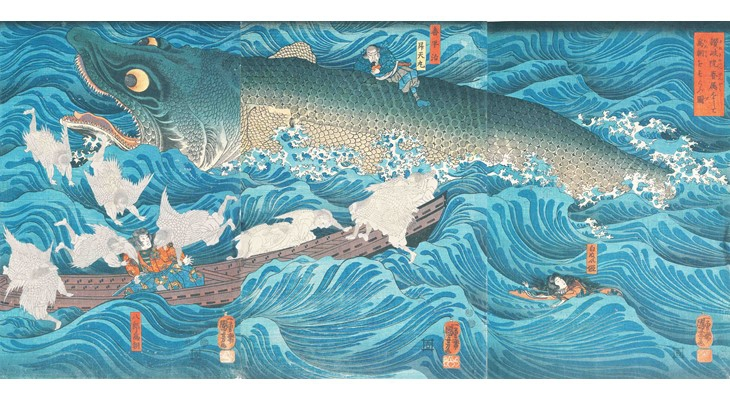 UTAGAWA Kuniyoshi 《Tametomo Rescused by Tengus Sent by Sanuki-no-in》/ Hagi Uragami Museum