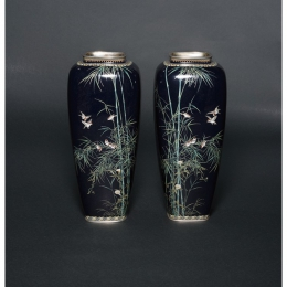 ANDO Jubei《Cloisonné Vase with Bamboo and Sparrow》 / The National Museum of Modern Art, Kyoto